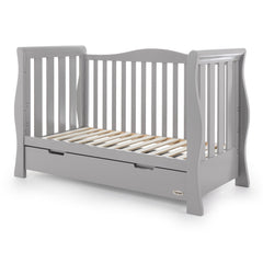 Obaby Stamford Luxe Sleigh Cot Bed with Drawer (Warm Grey) - quarter view, shown here as the sofa/day bed