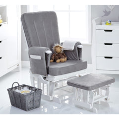 Obaby Deluxe Reclining Glider Chair & Stool (White with Grey) - lifestyle image