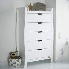 Obaby Stamford Sleigh Tall Chest of Drawers (White) - lifestyle image