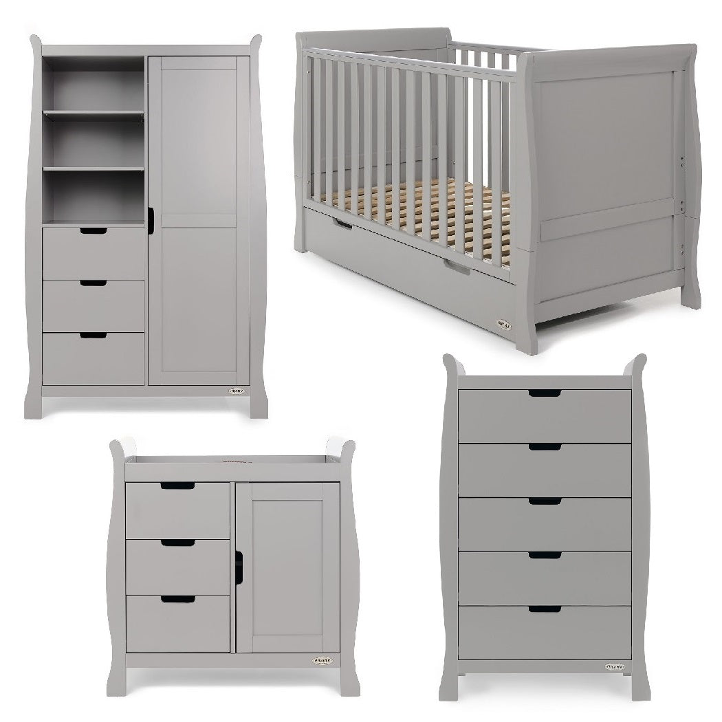 Obaby Stamford Sleigh 4 Piece Room Set (Warm Grey)
