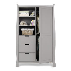 Obaby Stamford Sleigh Double Wardrobe (Warm Grey) - front view, showing the internal hanging rails (clothes and accessories not included)