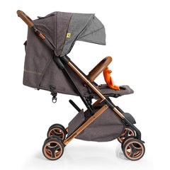 Cosatto Woosh XL Pushchair (Mister Fox) - side view, shown with seat reclined and hood fully extended