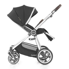 Babystyle Oyster 3 Mirror Pushchair (Caviar) - side view, shown here parent-facing with seat reclined