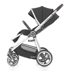 Babystyle Oyster 3 Mirror Pushchair (Caviar) - side view, shown here forward-facing with seat reclined