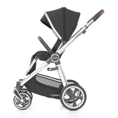 Babystyle Oyster 3 Mirror Pushchair (Caviar) - side view, shown here forward-facing with seat upright