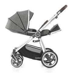 Babystyle Oyster 3 Mirror Pushchair (Mercury) - side view, shown here parent-facing with fully seat reclined