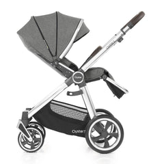 Babystyle Oyster 3 Mirror Pushchair (Mercury) - side view, shown here parent-facing with seat reclined