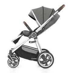 Babystyle Oyster 3 Mirror Pushchair (Mercury) - side view, shown here forward-facing with seat reclined