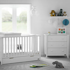 Obaby Belton 2 Piece Room Set (White) - lifestyle image, shown here with the optional cot top changer (available separately)