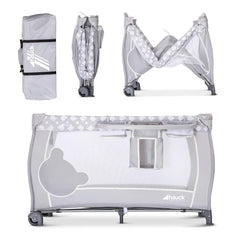 Hauck Baby Centre 120x60cm (Teddy Grey) - showing how this travel cot folds