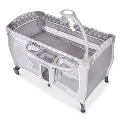 Hauck Baby Centre 120x60cm (Teddy Grey) - quarter view, shown here without the changing table