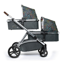 Cosatto Wow XL Additional Carrycot (Nordik) - side view, shown here fixed to the Wow XL 3-in-1 to create a double pram (Wow 3-in-1 available separately)