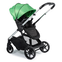 iCandy Lime Pushchair & Carrycot (Lime) - quarter view, shown here as the pushchair in parent-facing mode with handlebar extended
