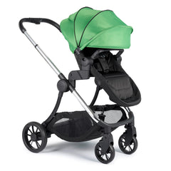 iCandy Lime Pushchair & Carrycot (Lime) - quarter view, shown here as the pushchair in forward-facing mode with the elevator adaptors