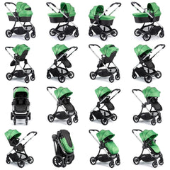 iCandy Lime Pushchair & Carrycot (Lime) - graphic showing the various configurations available (footmuff not included, available separately)
