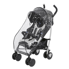Chicco Echo Stroller Baby Pushchair (Stone) - quarter view, shown here wearing its raincover
