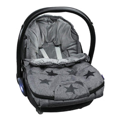Original Dooky Small Footmuff (Grey Stars) - shown here fitted to an infant carrier (infant carrier NOT included, available separately)