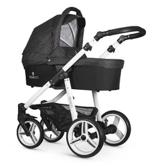 Venicci Soft Edition White 2-in-1 Pushchair Set (Denim Black) - showing the carrycot and chassis in use as a pram