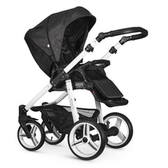 Venicci Soft Edition White 2-in-1 Pushchair Set (Denim Black) - showing the seat unit and chassis in use as the pushchair in parent-facing mode