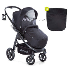 Hauck Saturn R Stroller (Caviar/Stone) - quarter view, shown here with boot cover