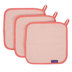 ClevaMama Bamboo Baby Washcloths - Set of 3 (Coral) - shown here flat