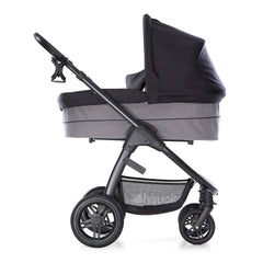 Hauck Saturn R Stroller & Carrycot Bundle (Caviar/Stone) - side view, shown here as the pram
