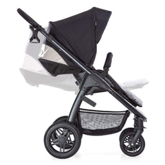 Hauck Saturn R Stroller (Caviar/Stone) - side view, showing the adjustable seat back and leg rest