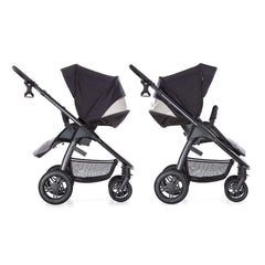 Hauck Saturn R Stroller & Carrycot Bundle (Caviar/Stone) - side view, showing the stroller in parent-facing and forward-facing modes