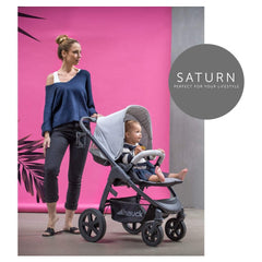 Hauck Saturn R Stroller & Carrycot Bundle (Caviar/Stone) - lifestyle image of the stroller