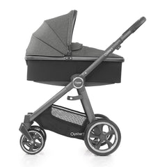 Babystyle Oyster 3 City Grey Essential Bundle (Mercury) - side view, showing the carrycot and chassis together as the pram