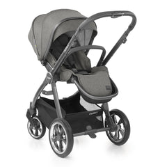 Babystyle Oyster 3 City Grey Essential Bundle (Mercury) - quarter view, showing the pushchair in parent-facing mode