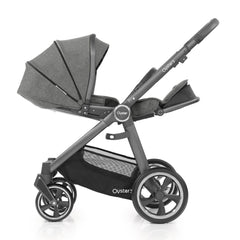 Babystyle Oyster 3 City Grey Essential Bundle (Mercury) - side view, showing the parent-facing pushchair with seat fully reclined