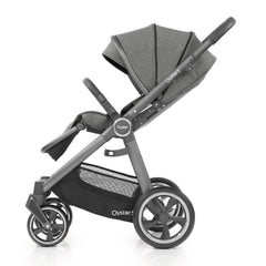Babystyle Oyster 3 City Grey Essential Bundle (Mercury) - side view, showing the forward-facing pushchair with seat reclined