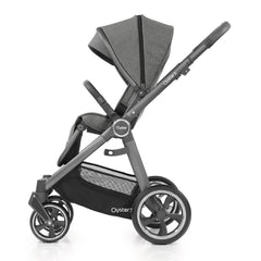 Babystyle Oyster 3 City Grey Essential Bundle (Mercury) - side view, showing the forward-facing pushchair with seat upright