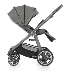 Babystyle Oyster 3 City Grey Pushchair (Mercury) - side view, shown here parent-facing with seat reclined