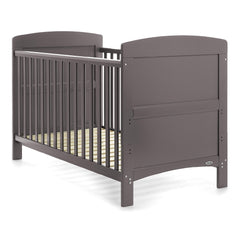 Obaby Grace Cot Bed (Taupe Grey) - quarter view, shown here as the cot