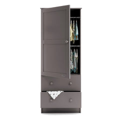 Obaby Grace Single Wardrobe (Taupe Grey) - front view, showing the internal hanging rails (clothes etc not included)