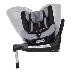 Mountain Buggy Safe Rotate ISOFIX Car Seat (Black/Silver) - side view, showing the seat`s spinning function