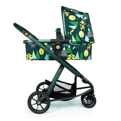Cosatto Giggle 3 Pram & Pushchair (Into The Wild) - side view, showing the carrycot and chassis in use as the pram