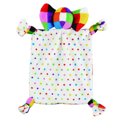 Elmer the Elephant Comforter - rear view, showing Elmer`s colourful reverse