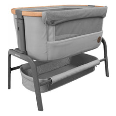 Maxi-Cosi Iora Co-Sleeping Crib (Essential Grey) - quarter view, showing the mesh panel