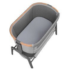 Maxi-Cosi Iora Co-Sleeping Crib (Essential Grey) - over view, showing the crib`s interior and included mattress