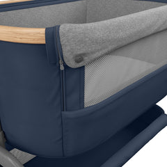 Maxi-Cosi Iora Co-Sleeping Crib (Essential Blue) - close view, showing the crib`s mesh panel