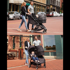 Baby Jogger City Tour 2 - Double (Pitch Black) - lifestyle image, showing how the stroller can be used with either one or two carrycots