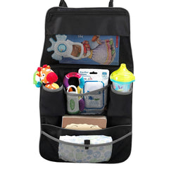 Munchkin Brica Car Backseat and Pushchair Organiser (Black) - showing the organiserwith toys and accessories (toys etc not included)