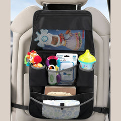 Munchkin Brica Car Backseat and Pushchair Organiser (Black) - showing the organiser fitted over a front car seat