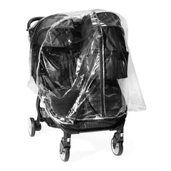 Baby Jogger City Tour 2 Raincover (Double) - front view, showing the double stroller with one compatible carrycot (stroller and carrycot not included)