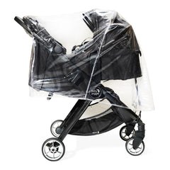 Baby Jogger City Tour 2 Raincover (Double) - side view, showing the double stroller with two carrycots (stroller and carrycot not included)