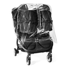 Baby Jogger City Tour 2 Raincover (Double) - front view, showing the double stroller with two compatible carrycots (stroller and carrycot not included)