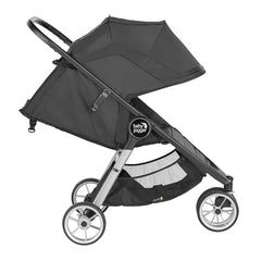 Baby Jogger City Mini 2 Single 3 Wheel Stroller (Jet) - side view, shown with seat reclined